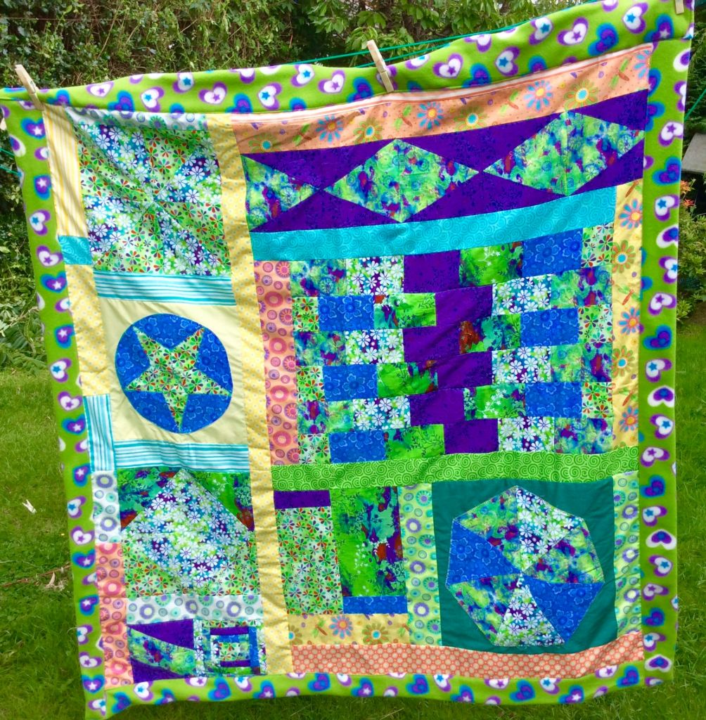 blue green patchwork blocks blanket