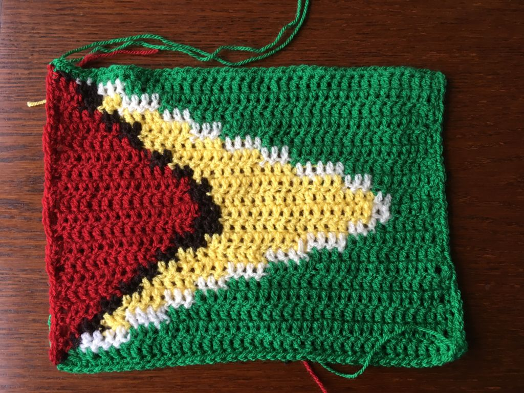 Crocheted flag of Guyana