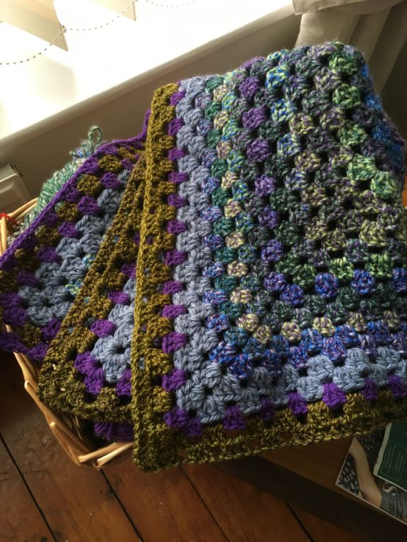 Crochet purple crochet blanket