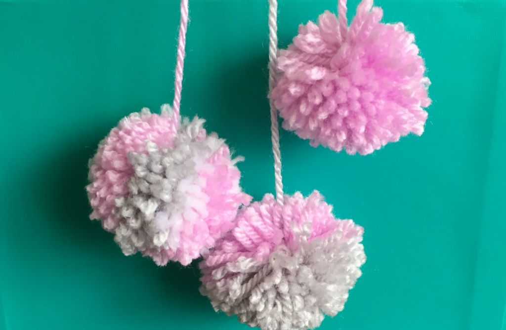 Pink and silver woolly Pom poms
