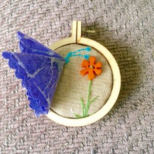 Fabric butterfly in an embroidery hoop