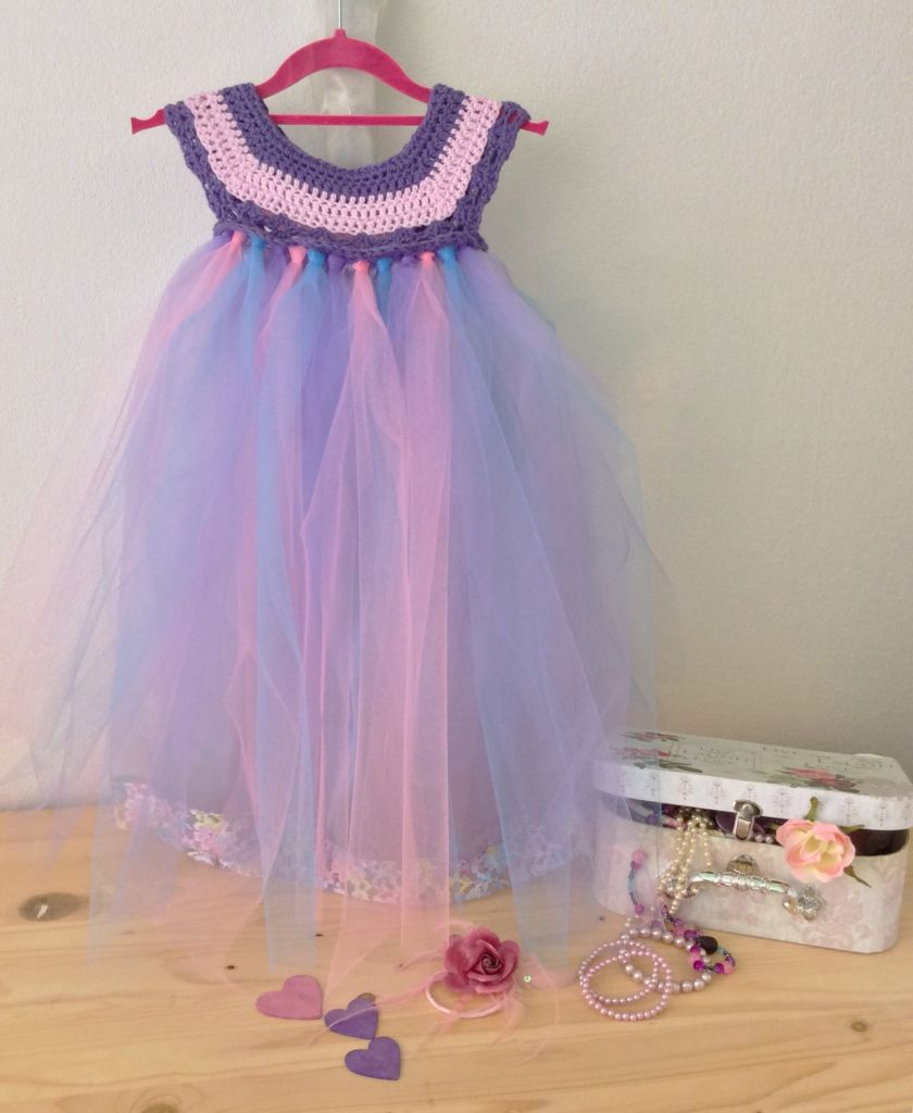 Fairy dress in pink, purple and blue