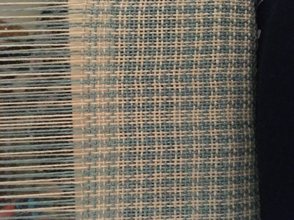 Hand woven scarf with mistake in pattern colours