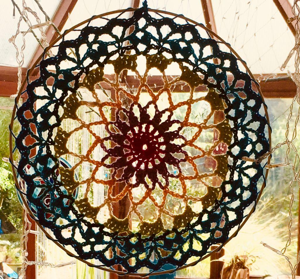 Crochet Dreamcatcher hanging up